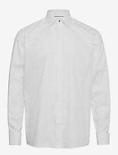 Chessboard check evening shirt - checkered shirts - white