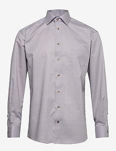 Beige micro flower shirt - checkered shirts - offwhite/brown