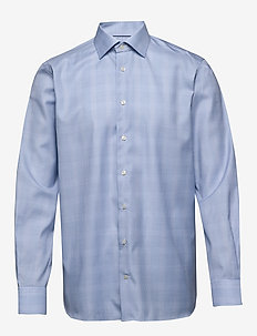 Gingham cotton-tencel shirt - checkered shirts - blue