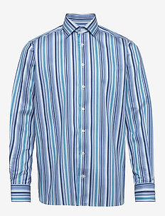 Blue twill shirt – geometric details - casual shirts - blue