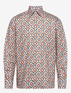White flannel floral print shirt - casual shirts - white