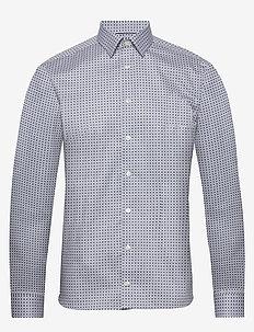 Medallions print shirt - biznesowa - offwhite/brown