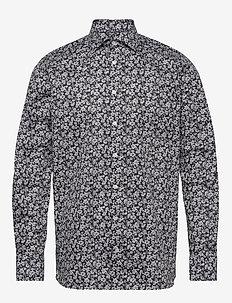 Black & white flowers shirt - casual shirts - black