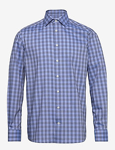 Blue twill shirt - chemises à carreaux - blue