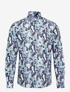 Slim fit rocket man print shirt - casual shirts - blue