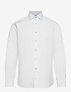 Slim fit dress shirt w/ contrast collar & cuff - basic skjorter - white