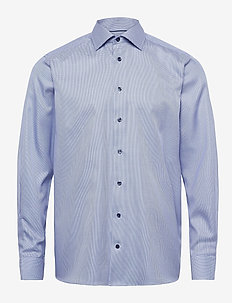 Contemporary fit Blue Textured Twill shirt - chemises d'affaires - blue