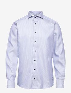 Slim fit Blue Textured Twill shirt - business-hemden - blue