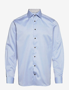 Contemporary fit twill shirt w/ contrast collar & cuff - basic skjorter - blue