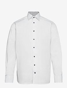 Contemporary fit twill shirt w/ contrast collar & cuff - basic skjorter - white