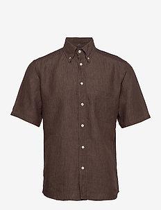 Linen shirt - podstawowe koszulki - offwhite/brown