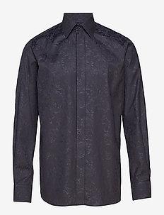 Black Jacquard Tuxedo Shirt - BLACK