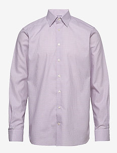 Checked Lighweight Twill Shirt With Button Under Collar - PINK/RED