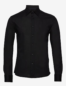 Polo shirt – long sleeved & tone in tone buttons - BLACK