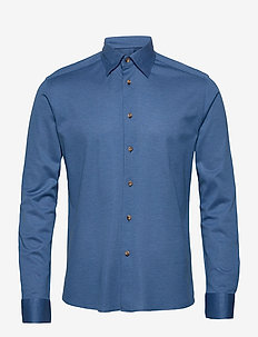 Polo shirt – long sleeved & tone in tone buttons - chemises basiques - blue