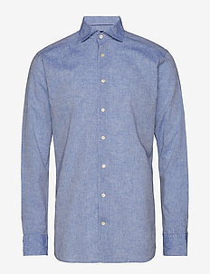 White Cotton & Linen Shirt - BLUE
