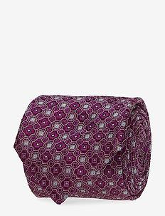 Geometric Pattern Silk Tie - PURPLE
