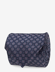 Flower Pattern Silk Tie - BLUE