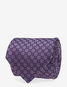 Flower Pattern Silk Tie - PURPLE