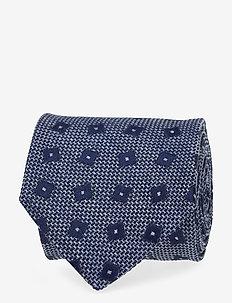 Geometric Pattern Linen & Silk Tie - BLUE