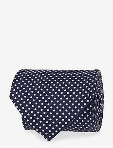 Silk Tie White Dots - BLUE