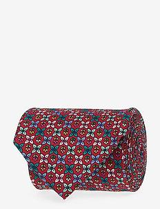 Flower Geometric Silk Tie - PINK/RED