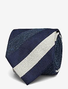 Navy Striped Silk, Cotton & Polyester Tie - BLUE