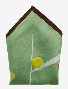 Off White Tennis Player & Ball Print Pocket Square - GREEN