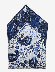 Paisley cotton pocket square - BLUE