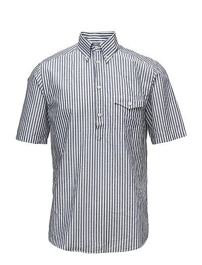 Blue Striped Popover Shirt - BLUE