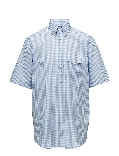 Sky Blue Check Popover Shirt - BLUE