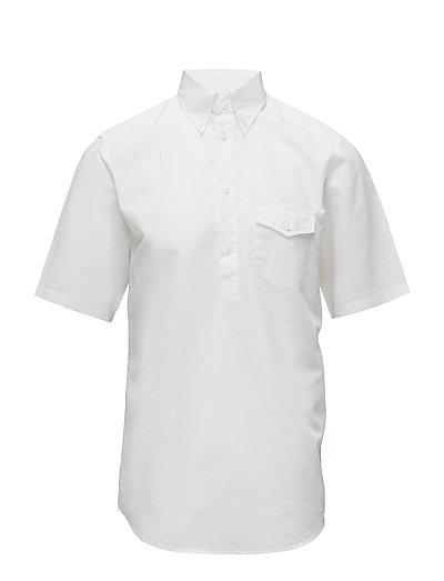 White Short Sleeve Popover Shirt - WHITE