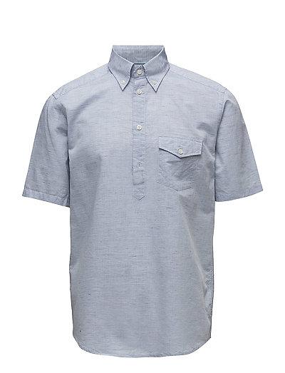 Sky Blue Short Sleeve Popover Shirt - BLUE