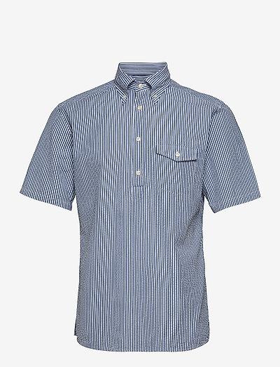 Navy Striped Seersucker Short Sleeve Popover Shirt - oxford-skjortor - blue