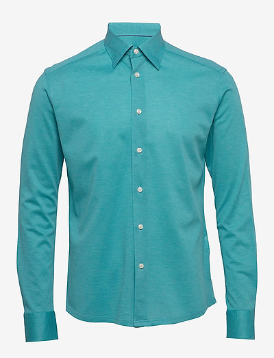 Polo shirt - long sleeved - oxford-paidat - blue