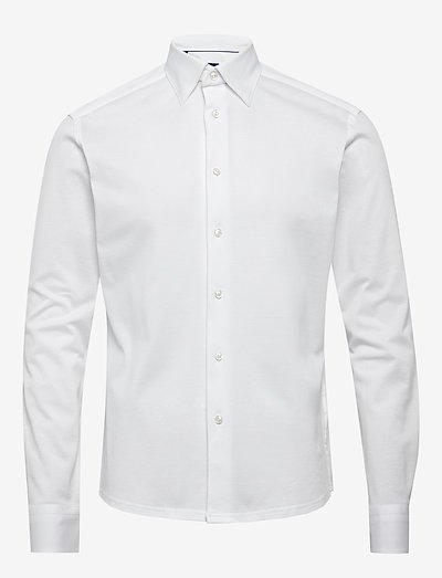 Polo shirt - long sleeved - oxford-paidat - white
