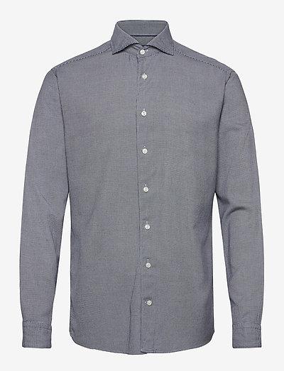 Soft Houndstooth Cotton-Tencel Shirt - denimowe koszulki - blue