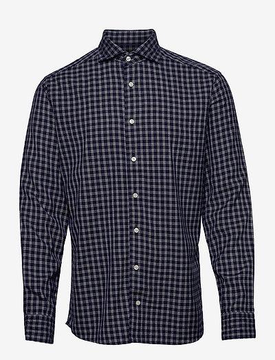 Soft Navy Checked Cotton-Tencel Shirt - denimowe koszulki - blue