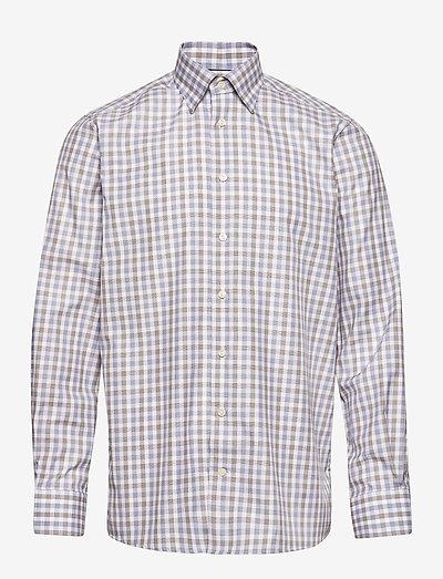 Blue & Brown Gingham Checked Twill Shirt - rutiga skjortor - blue