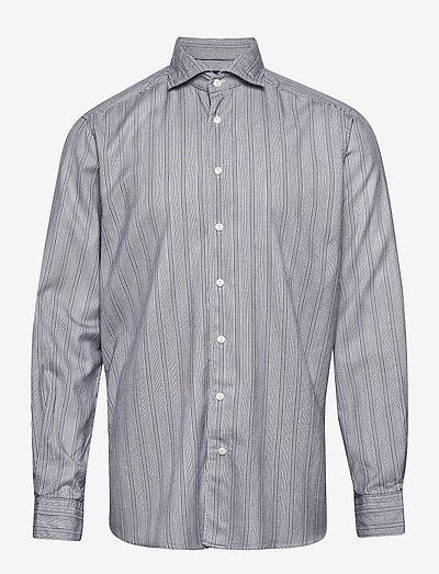 Soft indigo striped cotton-tencel shirt - koszule w kratkę - blue