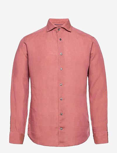 Slim Fit linen shirt - oxford-skjorter - pink/red