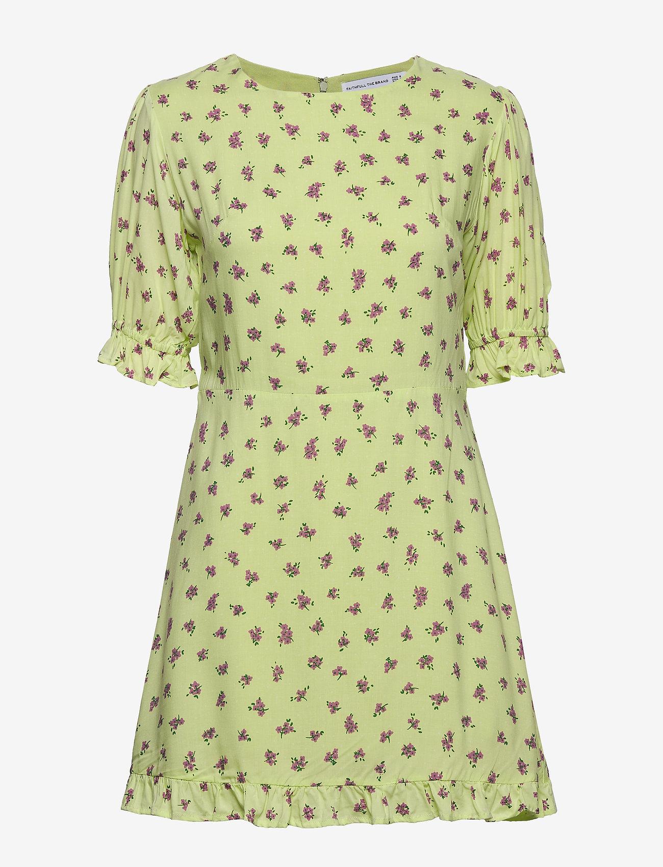 Faithfull The Brand - Florence Mini Dress - lyhyet mekot - luda floral lime