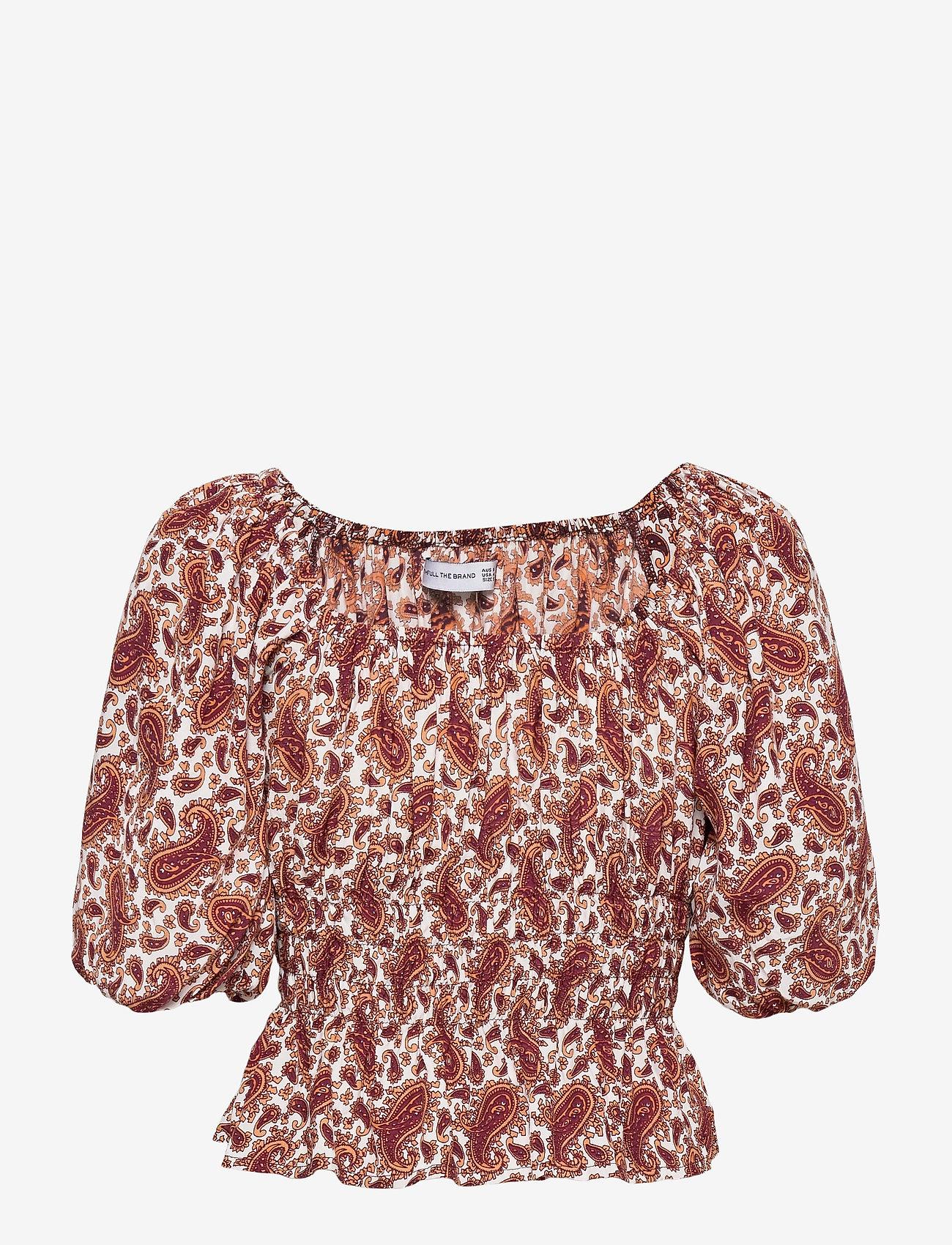 Faithfull The Brand - Liberia Top - blouses à manches courtes - sable paisley print - burgundy - 1