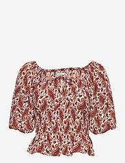 Faithfull The Brand - Liberia Top - blouses à manches courtes - sable paisley print - burgundy - 0