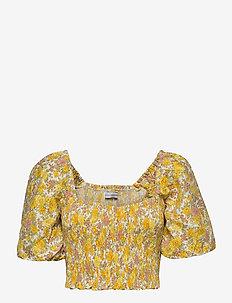 Robina Top - któtkie bluzki - grey garden floral print