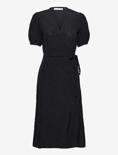 SUMAIA WRAP MIDI DRESS - sommerkjoler - sofie dot print - black