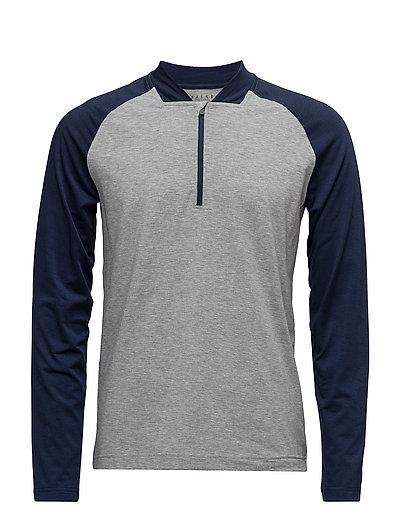 Zip LS Shirt m - GREY-HEATHER