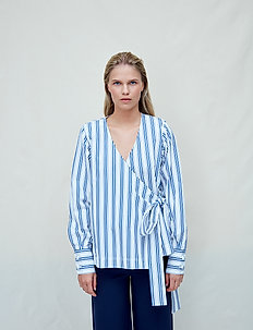 Nicole - long sleeved blouses - dark navy stripes