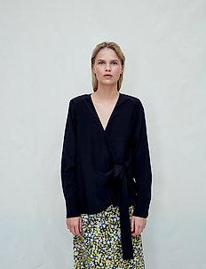 Nicole - long sleeved blouses - jet black