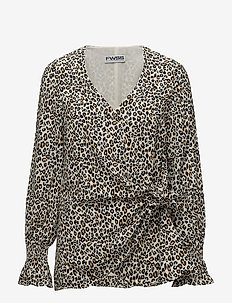 Emma - long sleeved blouses - cadmium yellow leopard small
